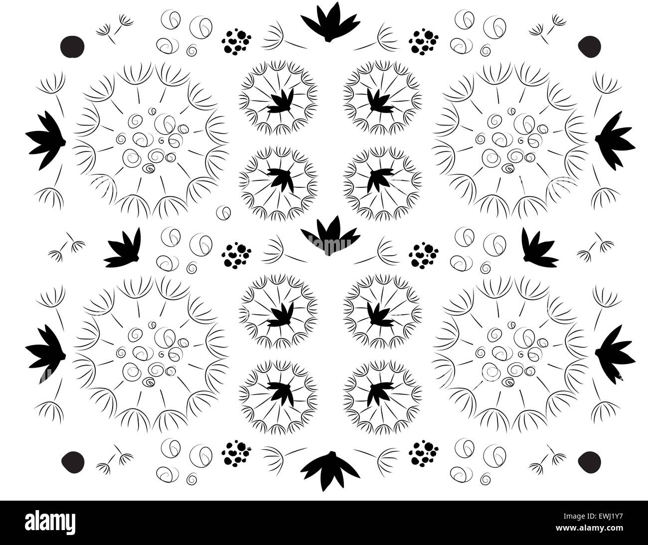 Original floral composition in black and white to decorate all your spaces - Stock Image
