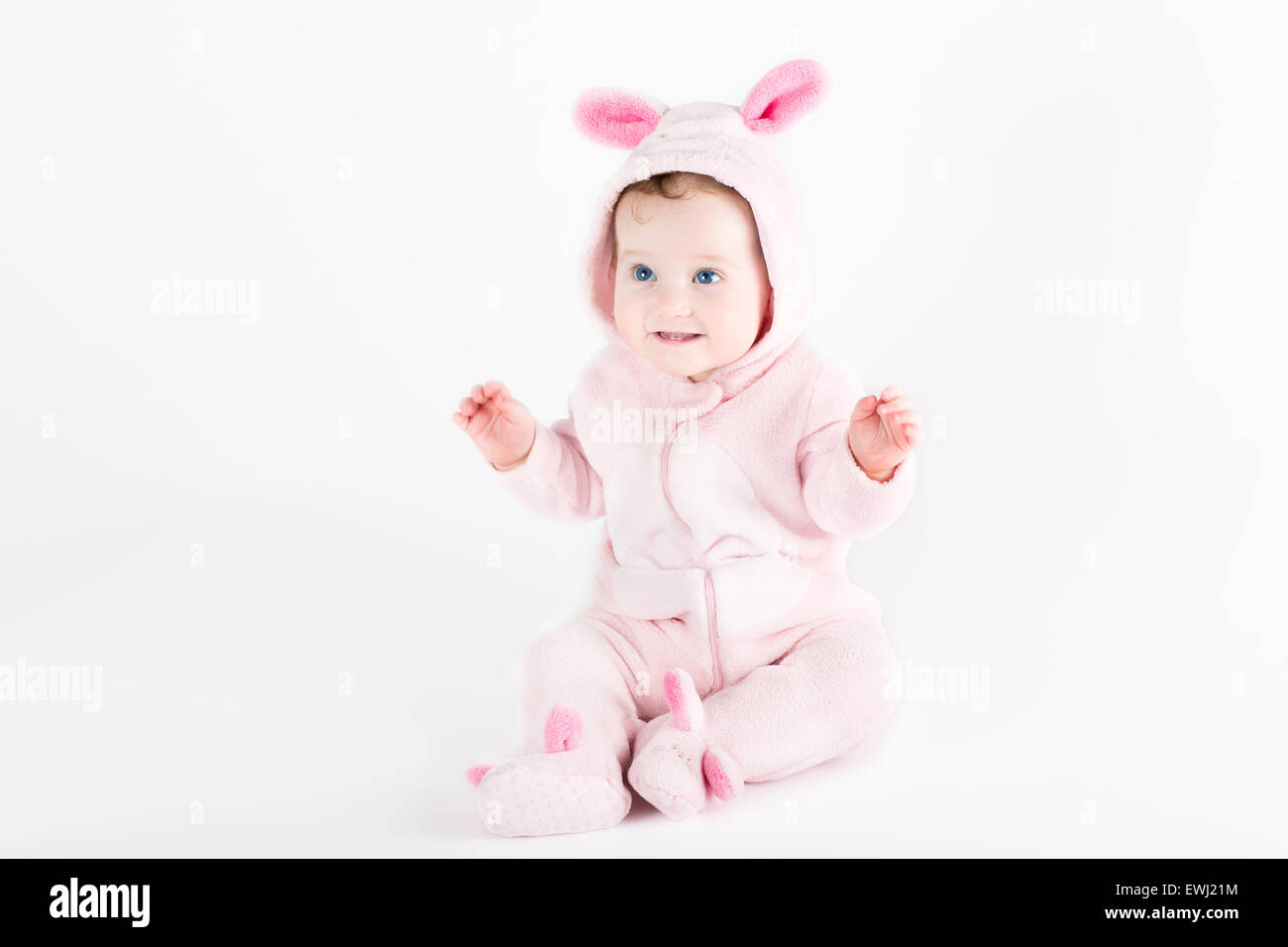 Cute funny baby dressed as an Easter bunny Stock Photo
