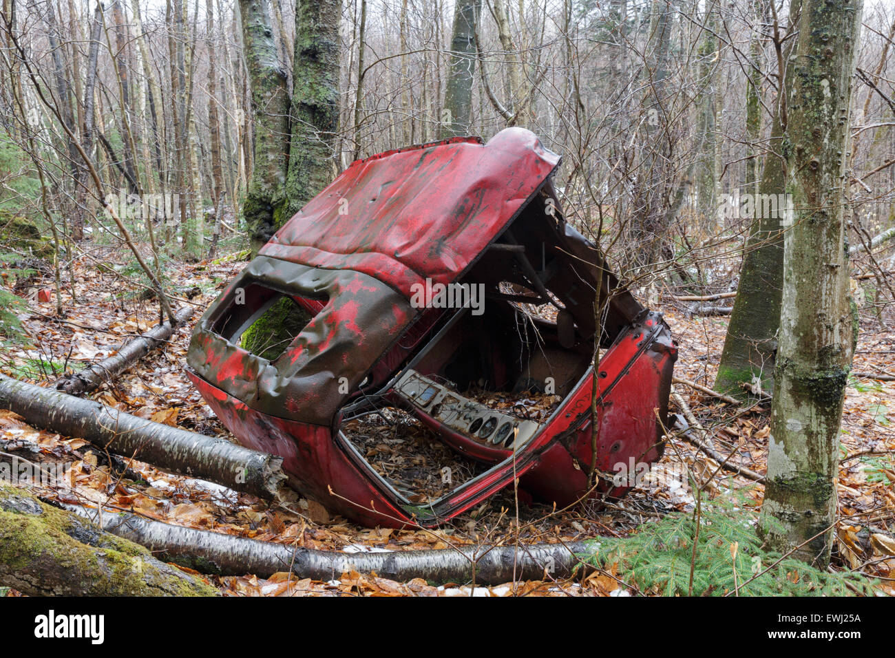 Abandoned truck in the Clay Brook drainage of Easton, New Hampshire USA during the spring months - Stock Image