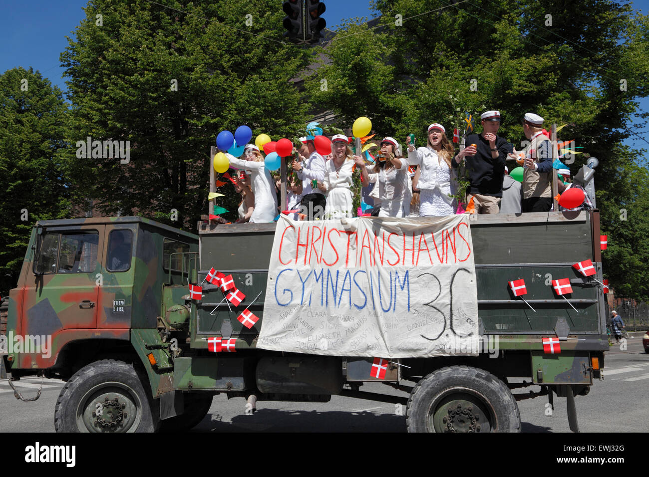 Christianshavn, Copenhagen, Denmark. June 26, 2015. Danish students celebrate their high school graduation. Students - Stock Image