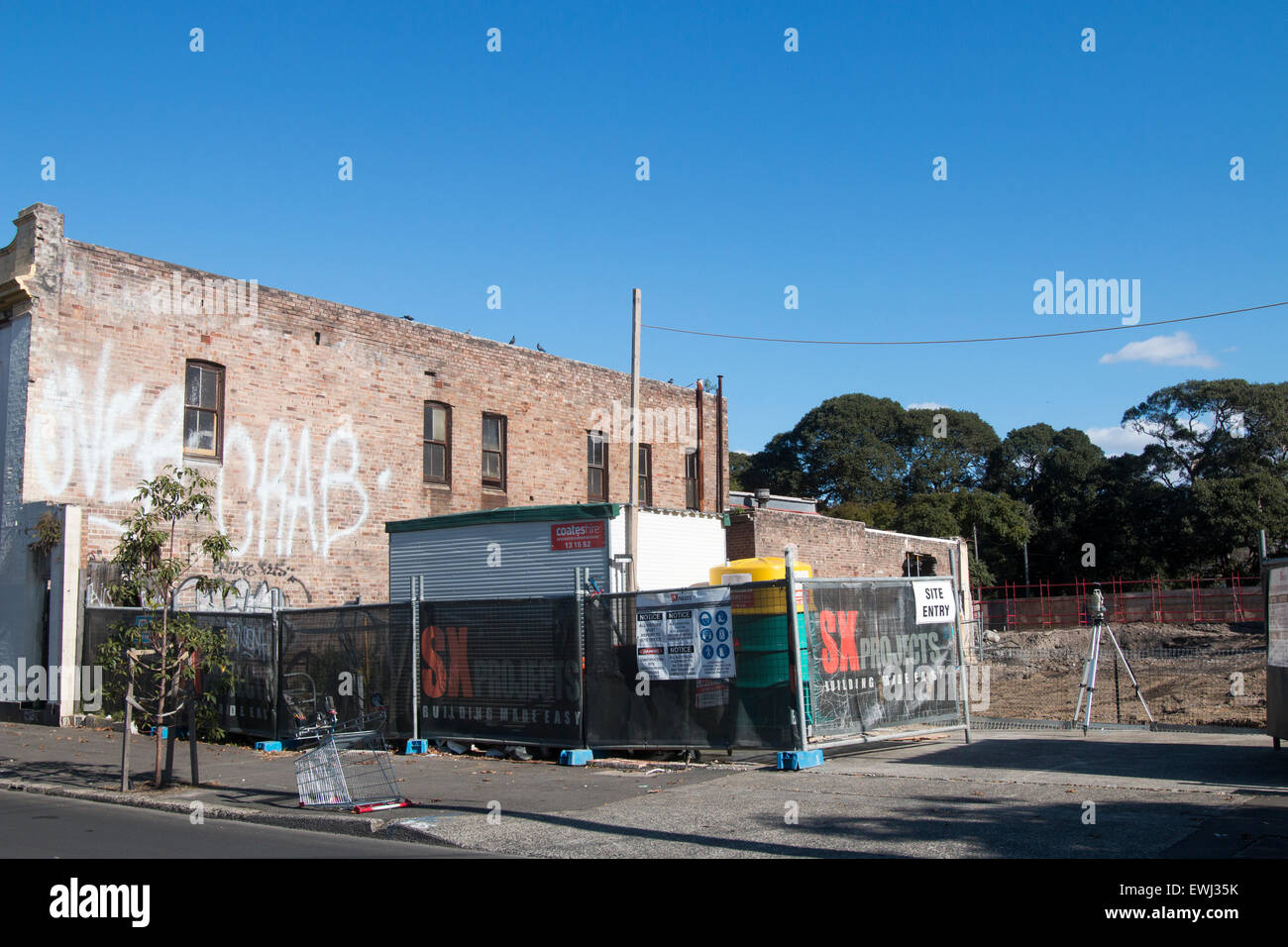 land on botany road Sydney being developed into residential units and apartments,Sydney,Australia - Stock Image