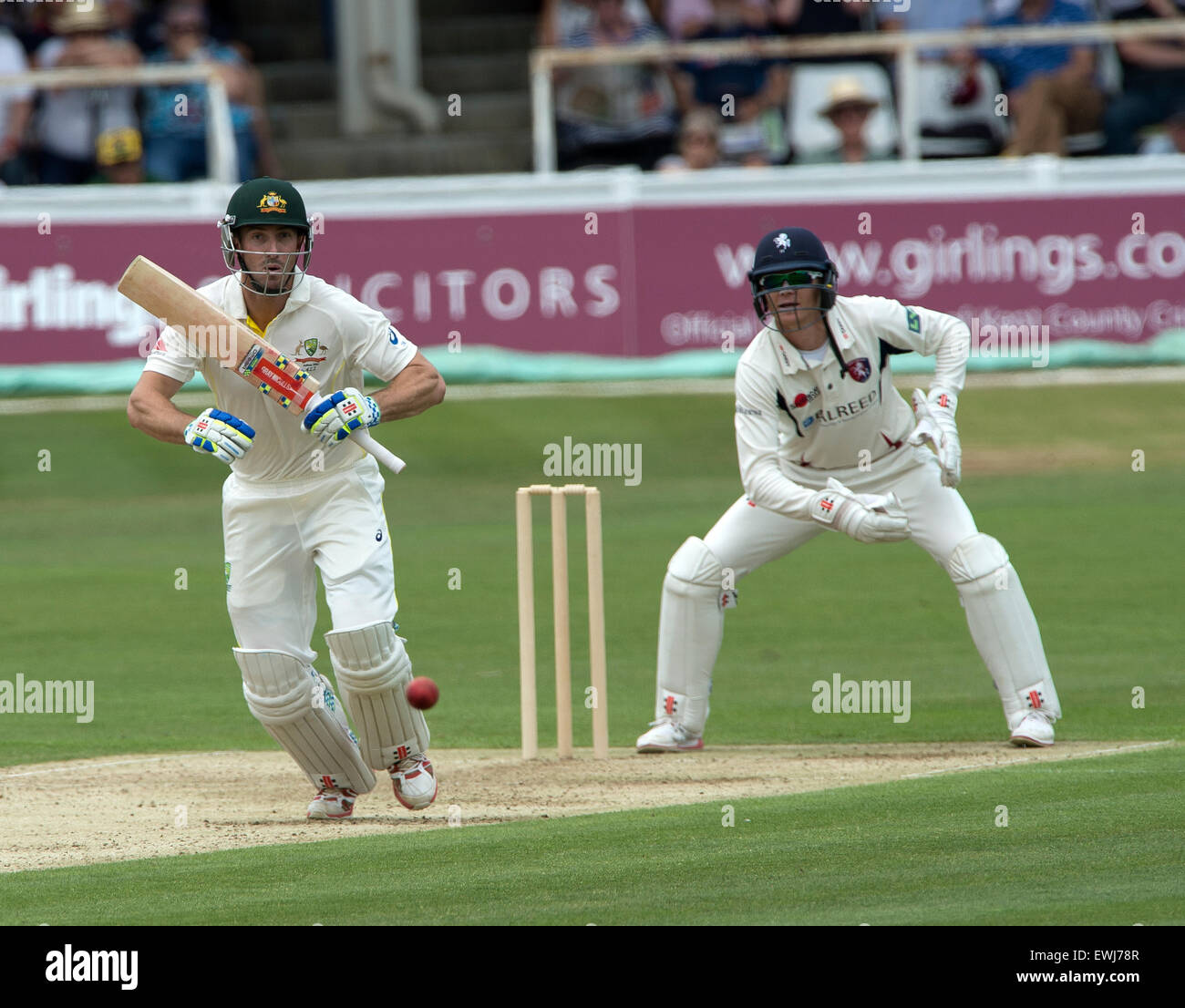 Australia's Shaun Marsh on the opening day of the tour match at the Spitfire Ground, St Lawrence, Canterbury, Kent, - Stock Image