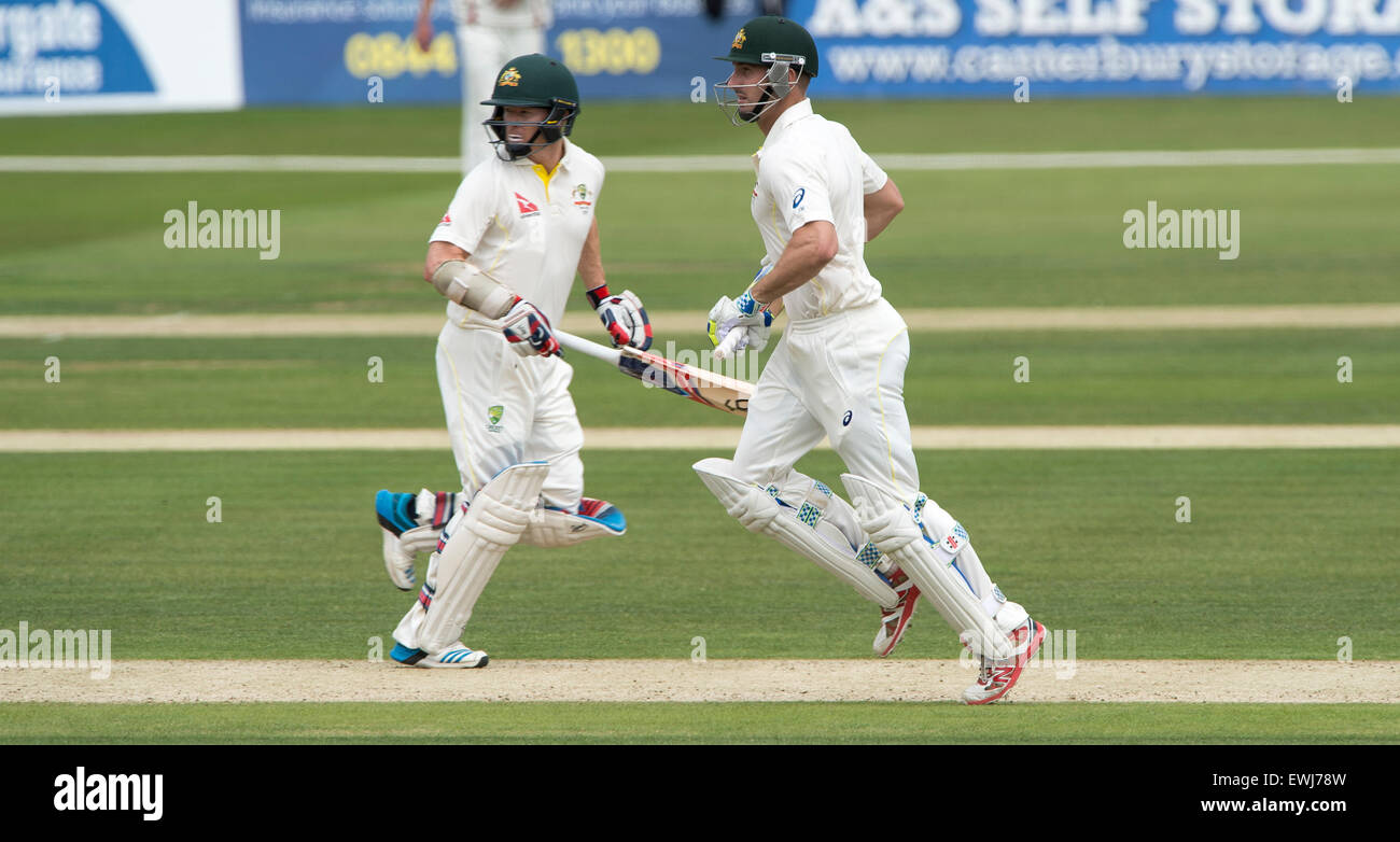 Australia's Shaun Marsh (R) and Chris Rogers put on 181 for the first wicket on the opening day of the tour match - Stock Image
