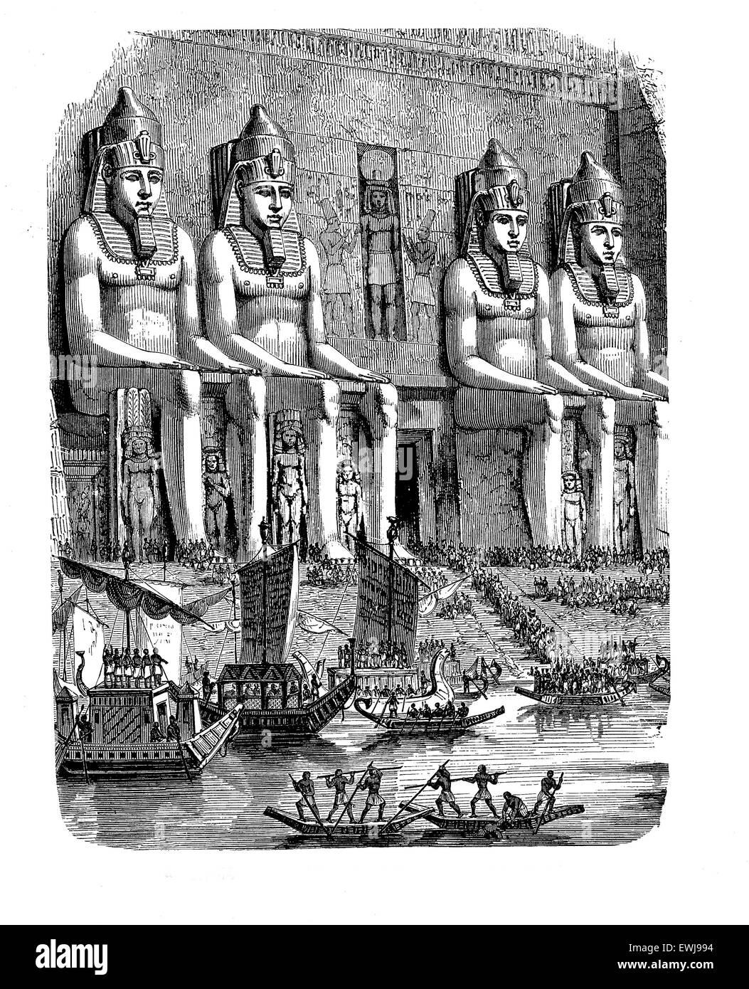 Antique Aegypt - Abu Simbel, vivid depiction of the life at this age, engraving - Stock Image