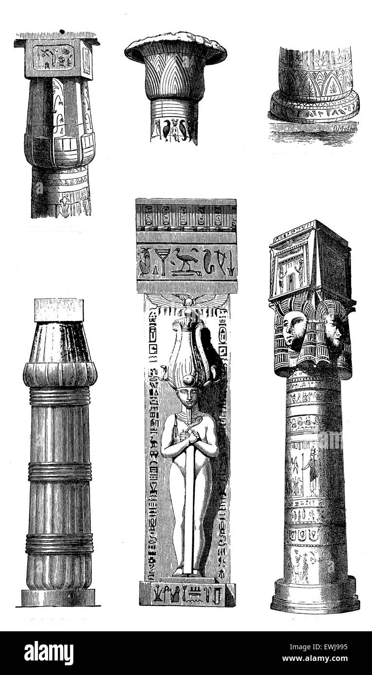 Antique Egypt - architectural details of pillars, sculptures and hieroglyphics. - Stock Image
