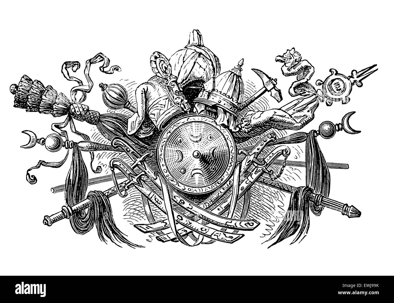 Panoply of weaponry,arranged as a triumph around a shield with Muslim Symbols - Stock Image