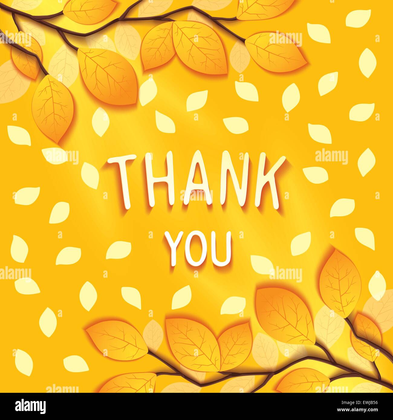 Gentle autumn greeting card with to wish gratitude on background of branches and leaves. Vector eps 10 - Stock Vector