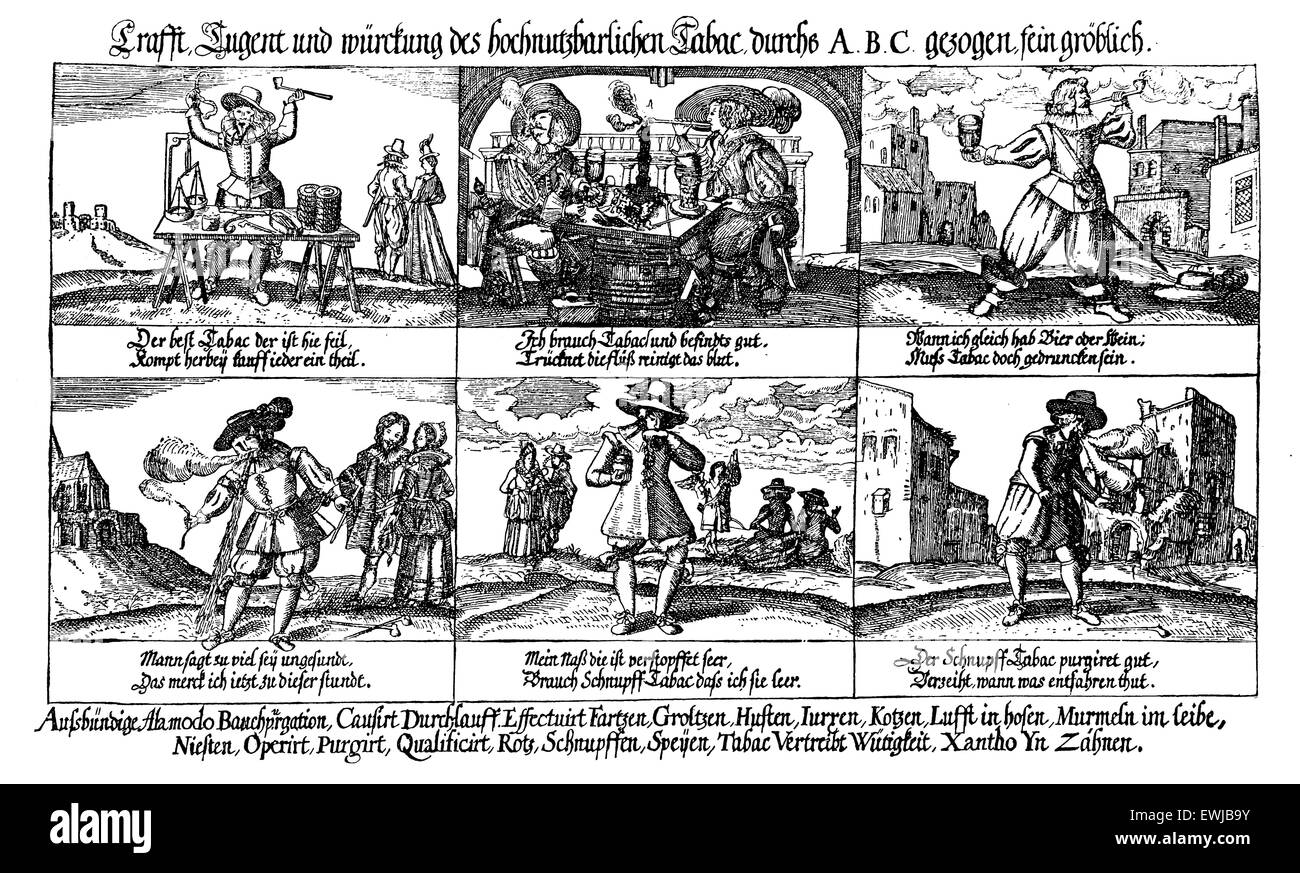 17th century caricatures depicting the abuse of alcohol and tobacco - Stock Image
