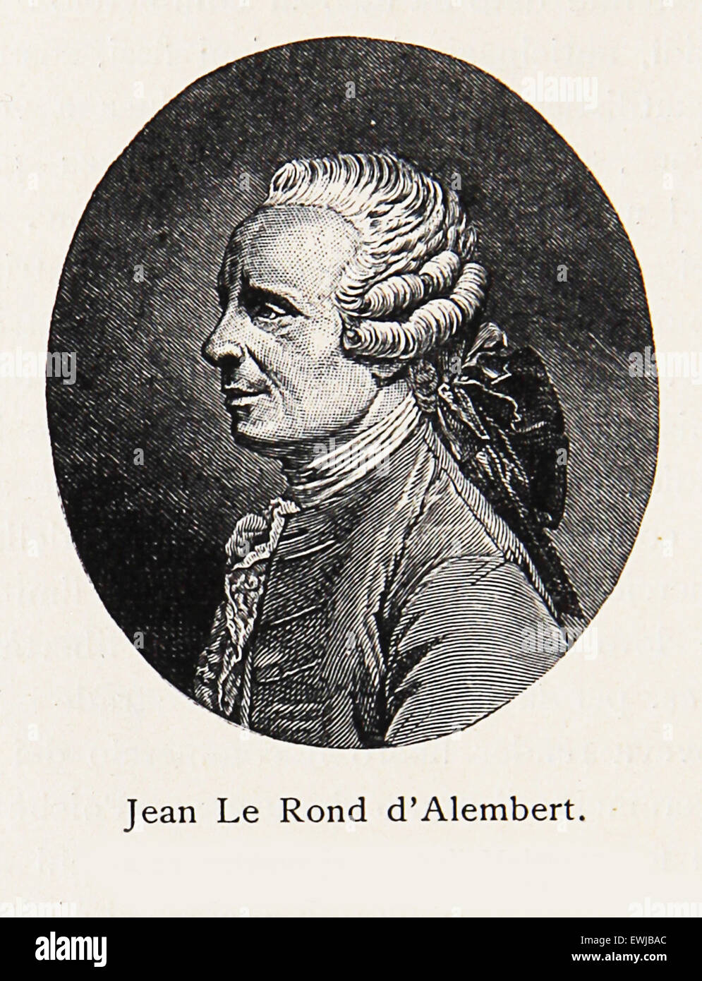 Engraving/Portrait of Jean-Baptiste le Rond d'Alembert, renowned 18th century mathematician, physicist, philosopher, - Stock Image