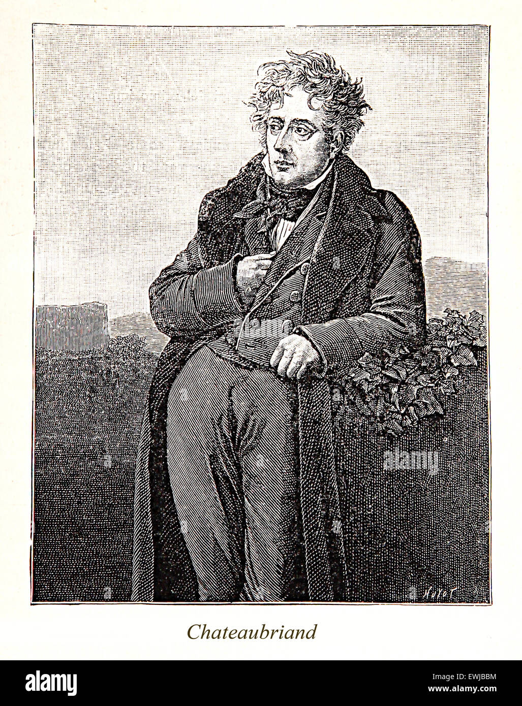 Engraving/portrait of François-René, vicomte de Chateaubriand: 18th century French writer and royalist - Stock Image