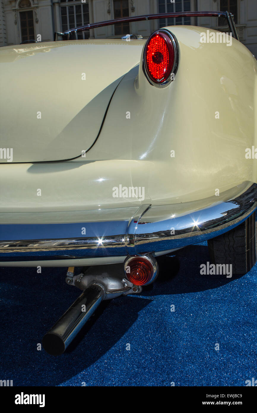 Lancia Aurelia B 24 Spider (year: 1955) in a vintage cars exposition in Italy. - Stock Image