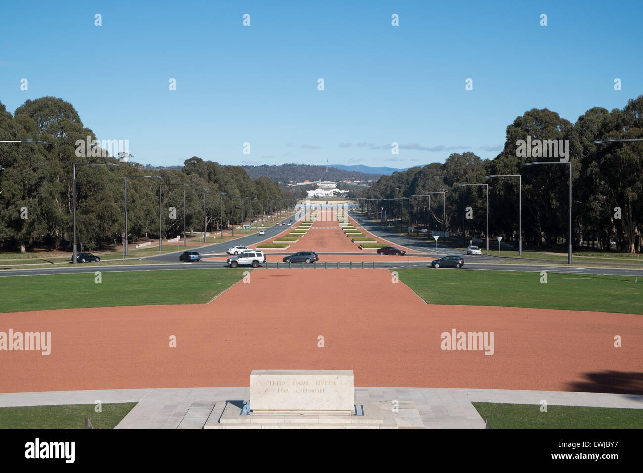 view of ANZAC parade and Parliament House in Canberra from the Australian war memorial. Canberra is australia's - Stock Image