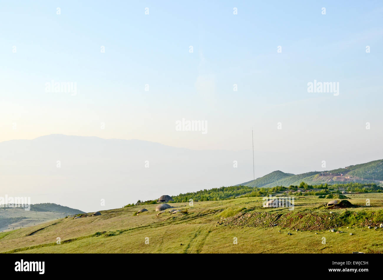 Bunkers near the border of Macedonia, in Albania, on May 25th, 2009. - Stock Image