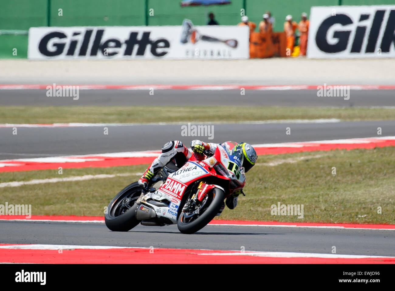 Misano Adriatico, Italy - June 20, 2015: Ducati Panigale R of Althea Racing Team, driven by BAIOCCO Matteo Stock Photo