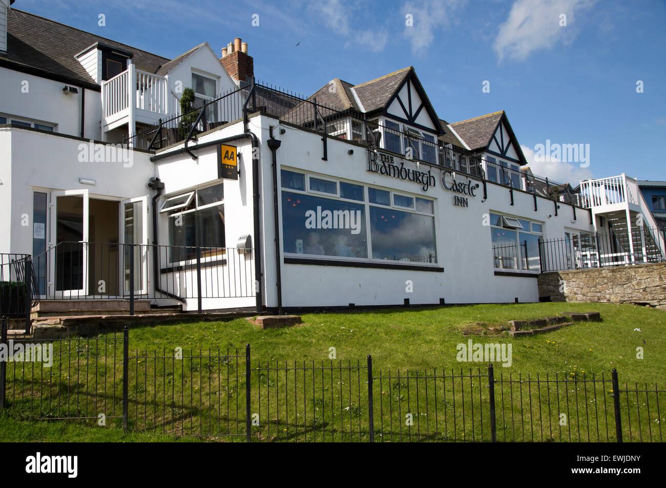 Bamburgh Castle Inn hotel, Seahouses, Northumberland, England, UK - Stock Image