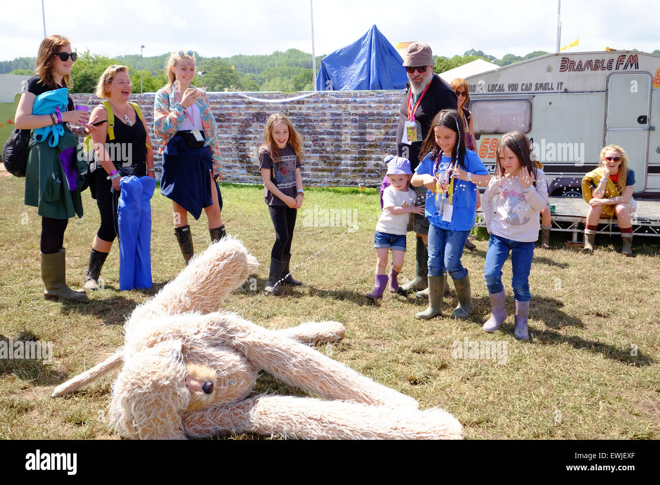 Glastonbury Festival, Somerset, UK. 27 June 2015. The festival dog, in reality a performance artist that exhibits - Stock Image