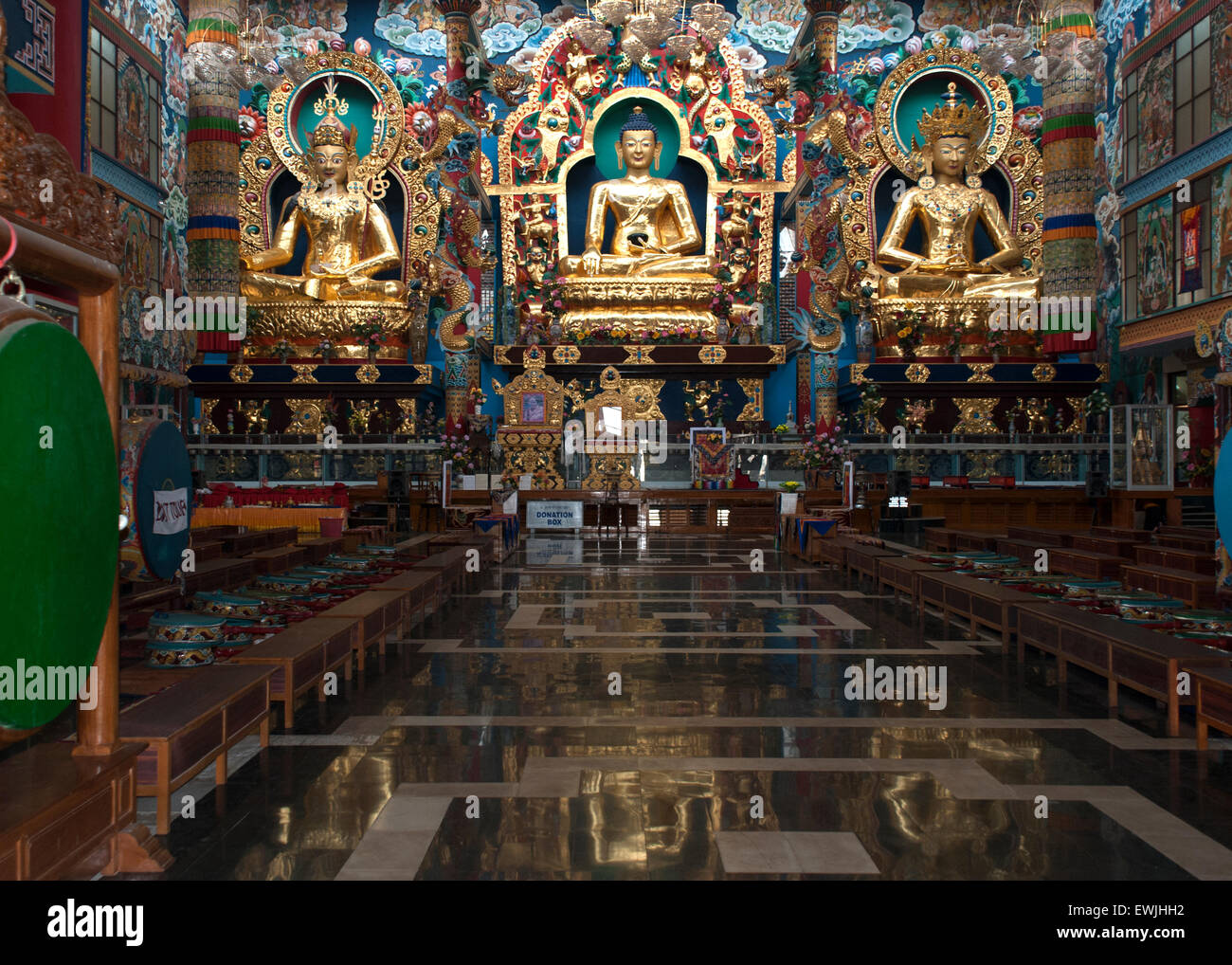 The Golden Temple/Namdroling Monastery is located in a Tibetan refugee resettlement region of South India.  The - Stock Image