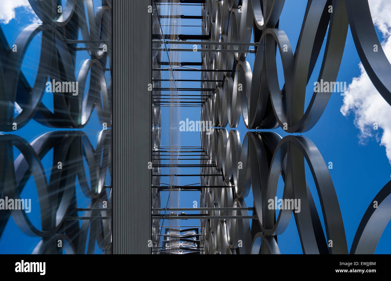 Close up of the exterior design of the Library of Birmingham reflected in its glass windows. - Stock Image