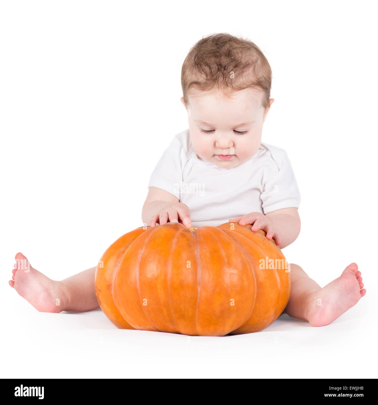Funny laughing little baby sitting and playing on a huge pumpkin wearing a knitted pumpkin hat on white background - Stock Image