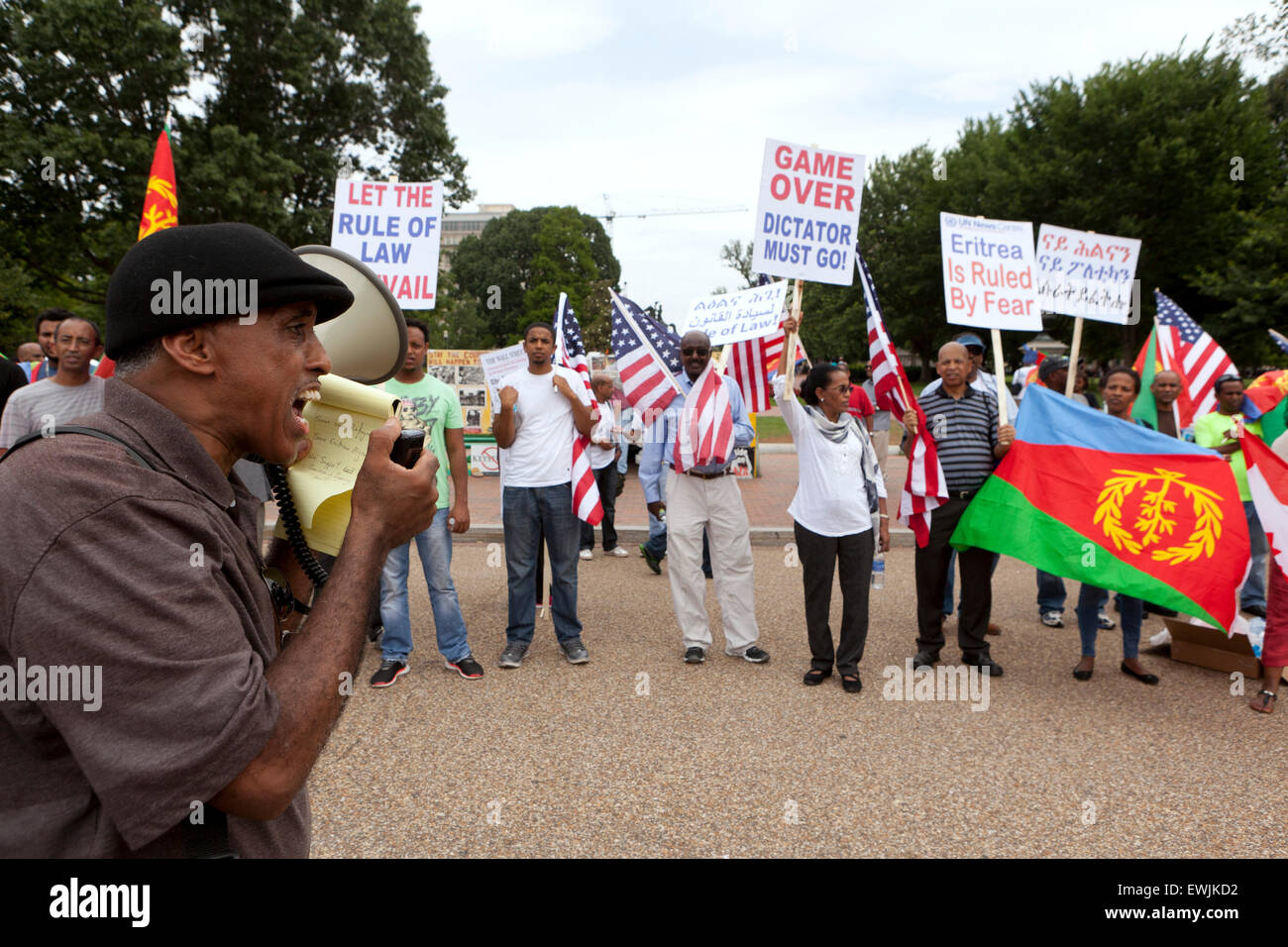 Eritreans protest for democratic change and human rights in Eritrea - Washington, DC USA Stock Photo
