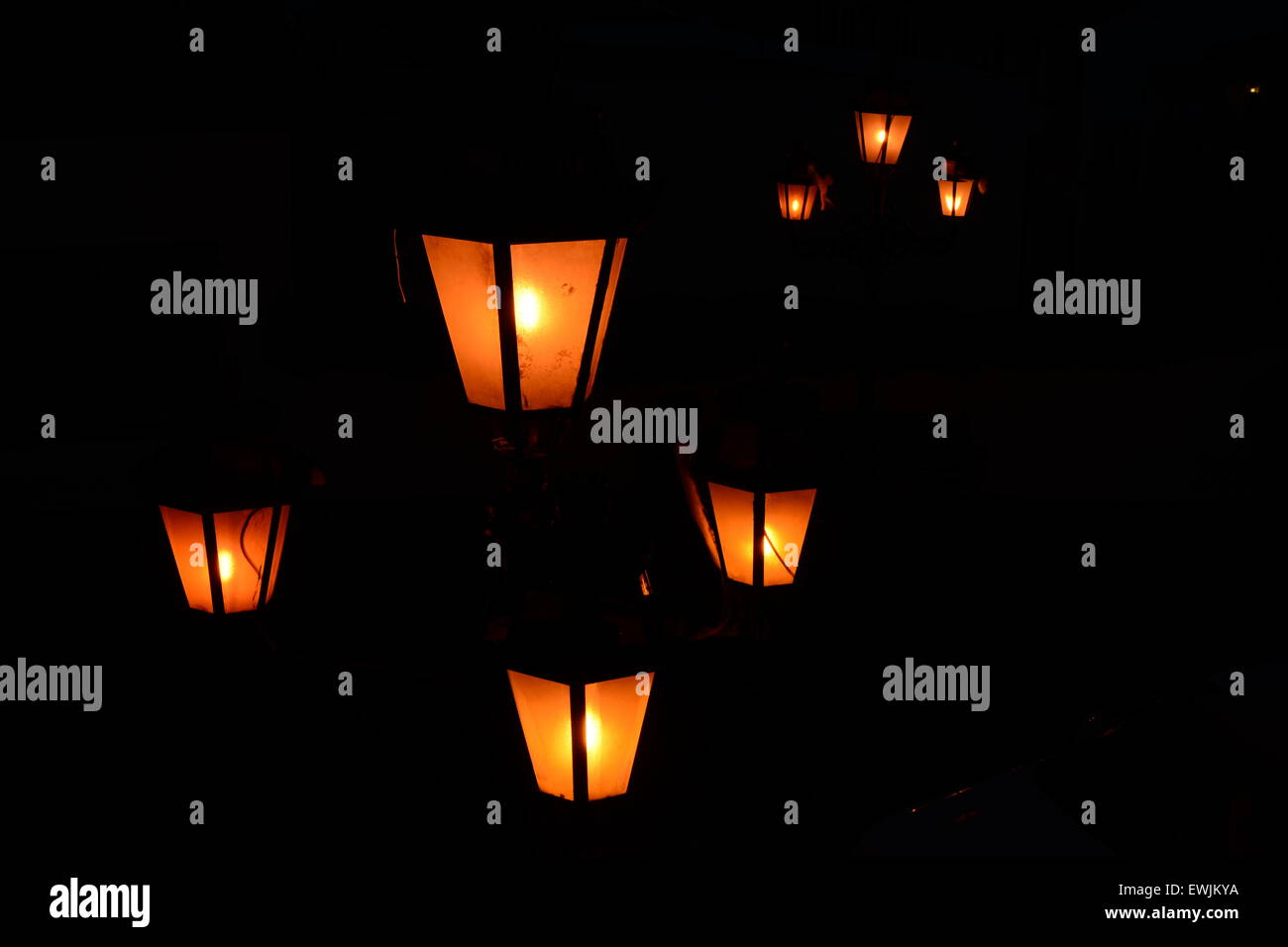 Mystical lamps shining in the dark. - Stock Image