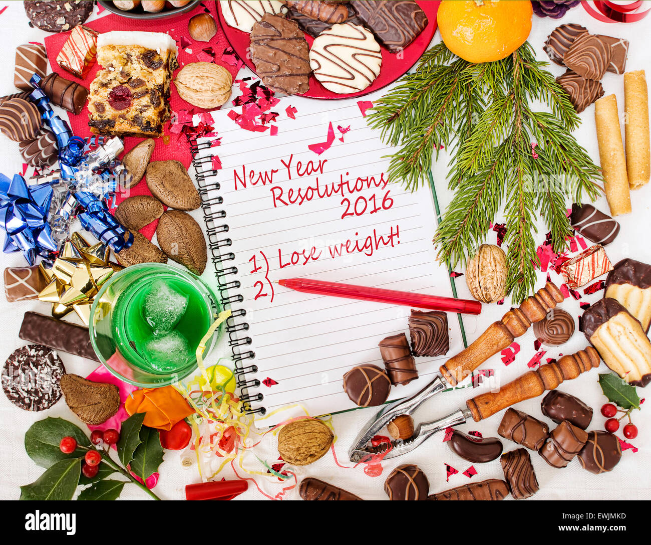 Overindulgence at Christmas - then Resolution to lose weight. Humour. - Stock Image