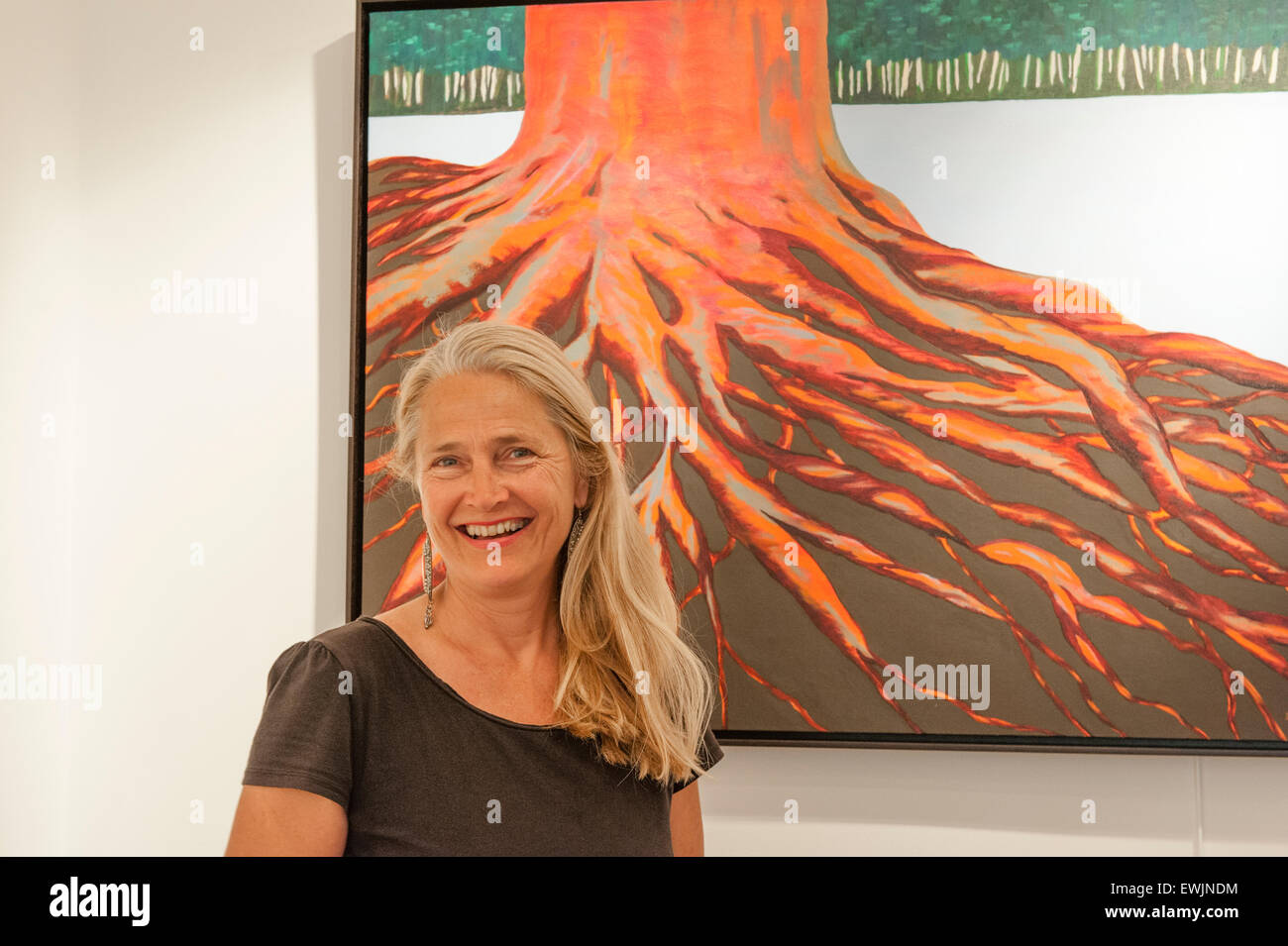 Diana Liljelund from Finland, artist and gallery owner in Bugarach, Aude, France - Stock Image