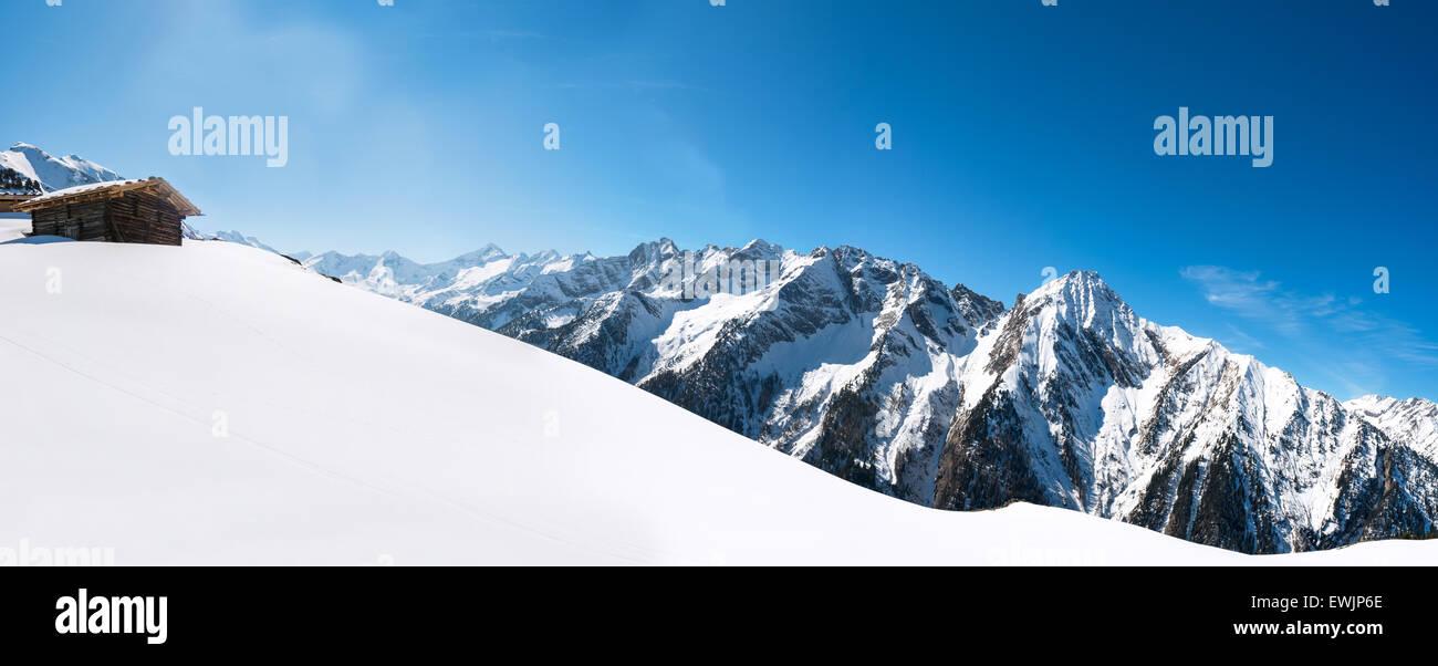 Panoramic view of Austrian Alps, Mayrhofen ski resort - Stock Image