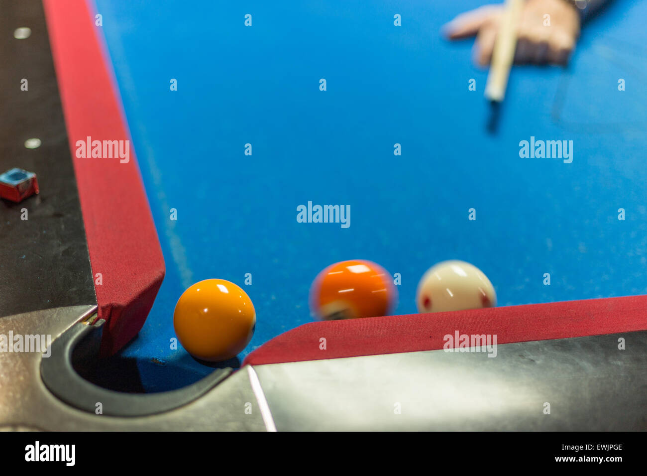 Ball Near Corner Pocket Of A Pool Table Motion Blur On Balls Stock - Pool table near by