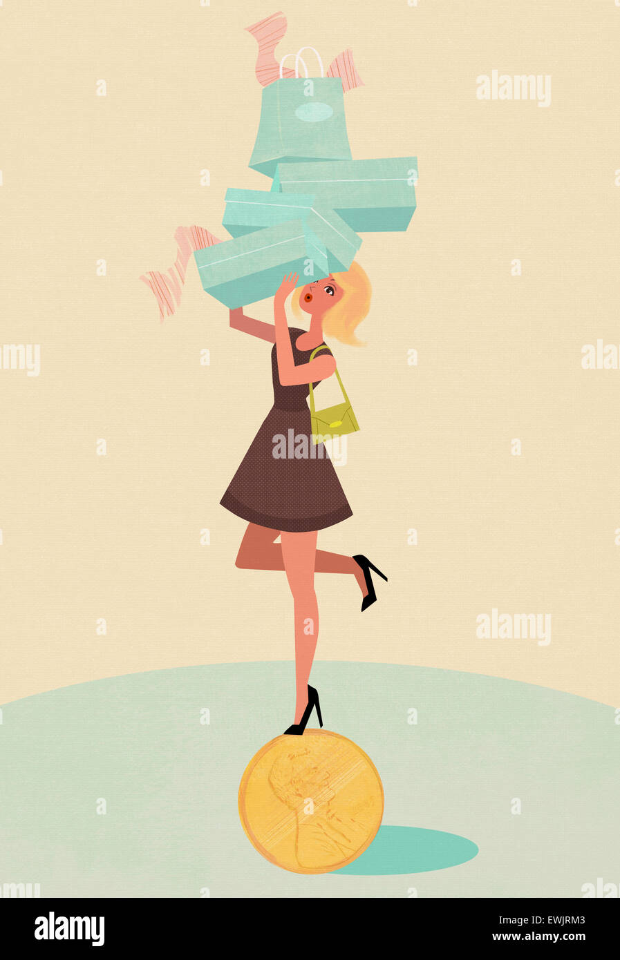 Young lady standing on currency carrying pile of shopping bags - Stock Image