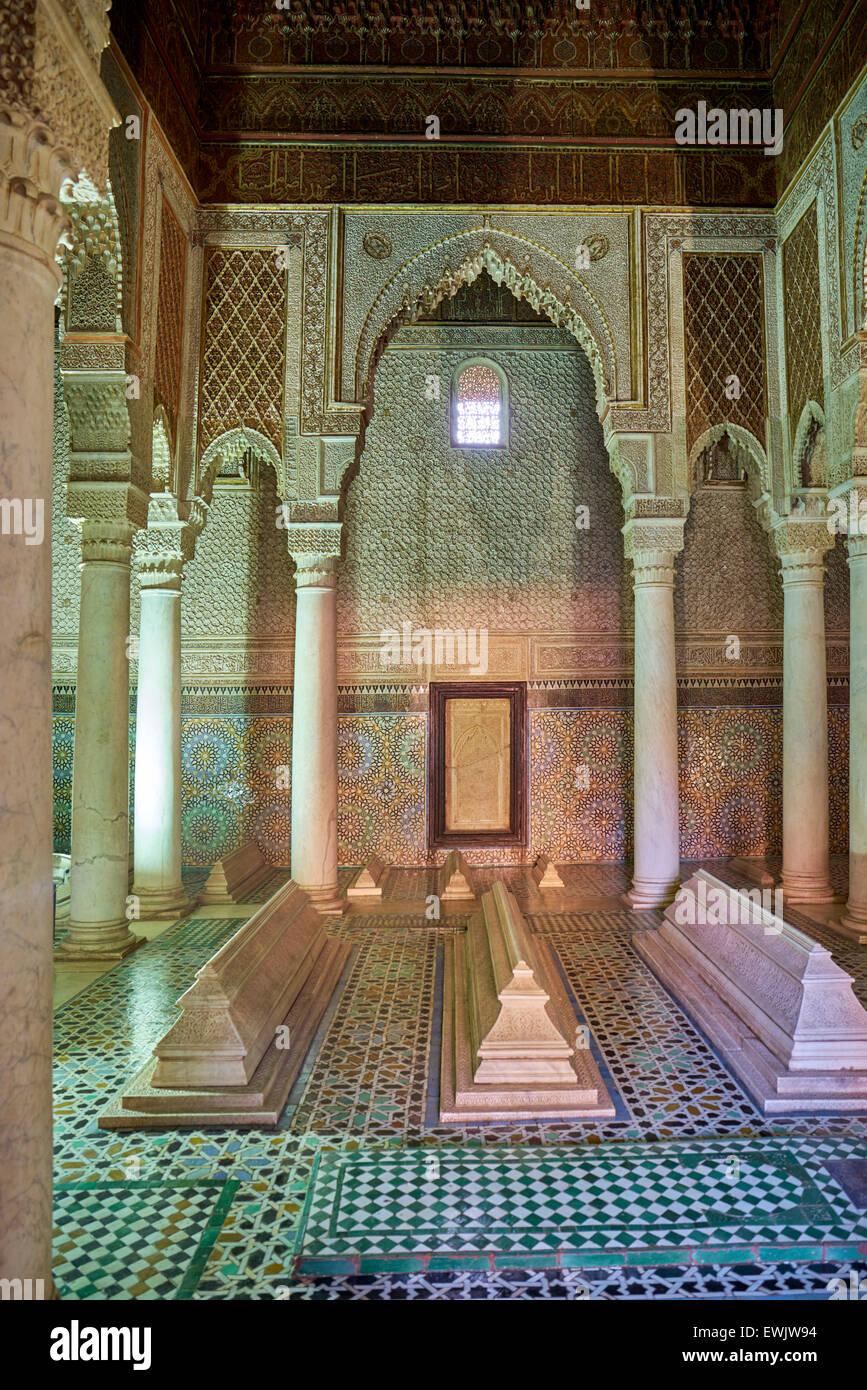 Interior of the Saadian Tombs, Marrakesh, Morocco Marrakesh, Africa - Stock Image
