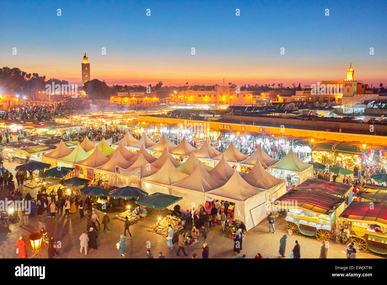 Djemaa el-Fna square at dusk, Marrakech, Morocco, Africa Stock Photo