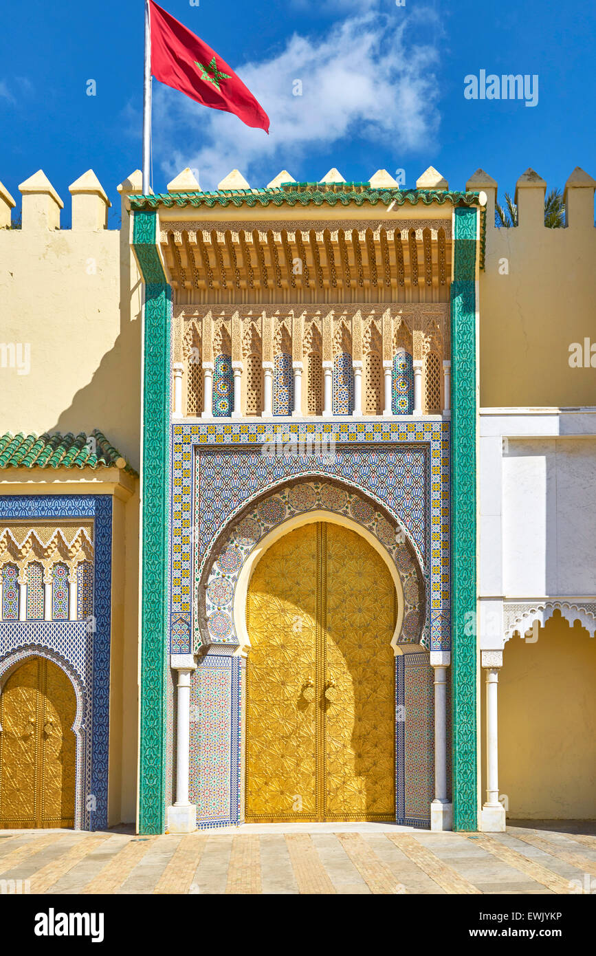 Entrance to Royal Palace in Fez, Morocco, Africa - Stock Image