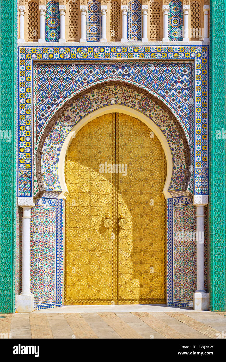 Doors to Royal Palace in Fez, Morocco, Africa - Stock Image