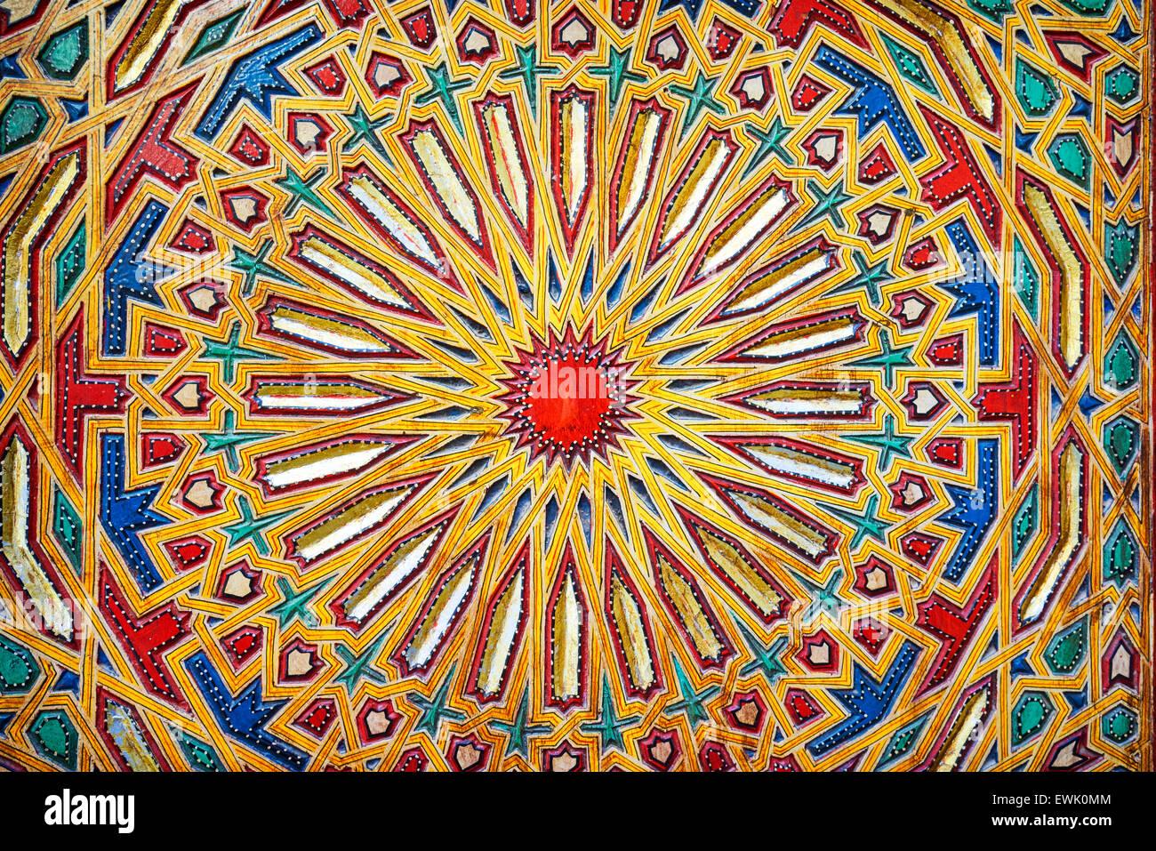 Detail of Mosque Sidi Ahmed Tijani, Fez Medina, Morocco, Africa - Stock Image