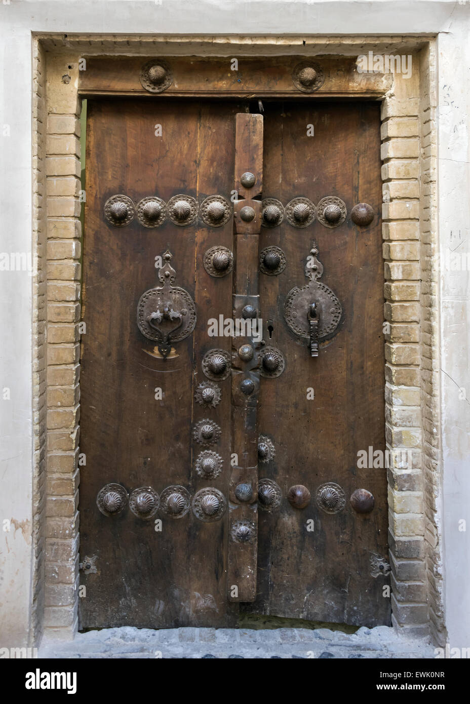 Close Up Of The Old Wooden Entry Door, Tabatabei Historic House, Kashan,  Iran