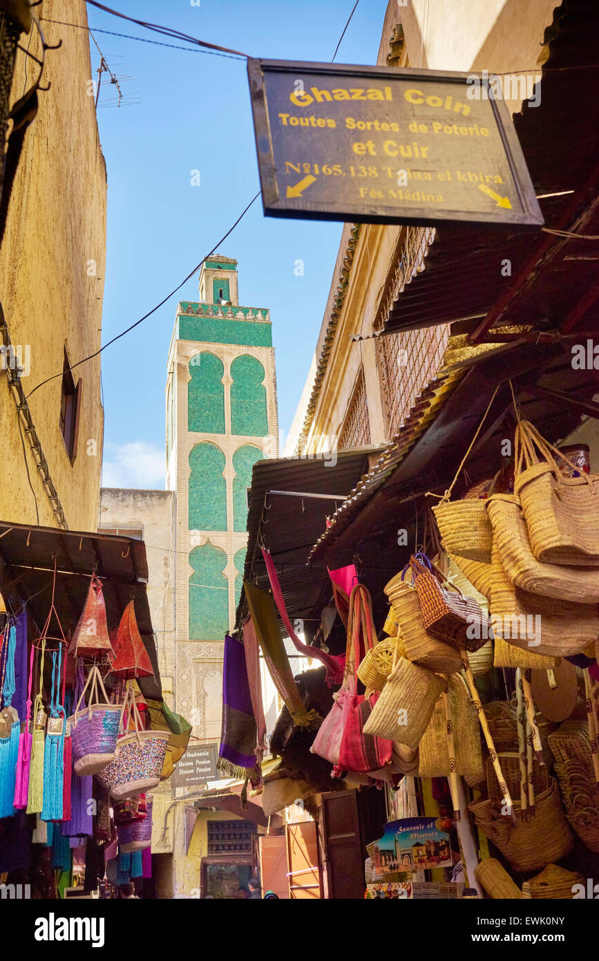 Streets of Fez Medina, Morocco, Africa - Stock Image