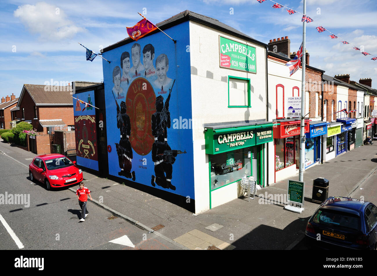 The Shankill Road runs through the predominantly loyalist working-class area known as the Shankill. Belfast. Northern - Stock Image