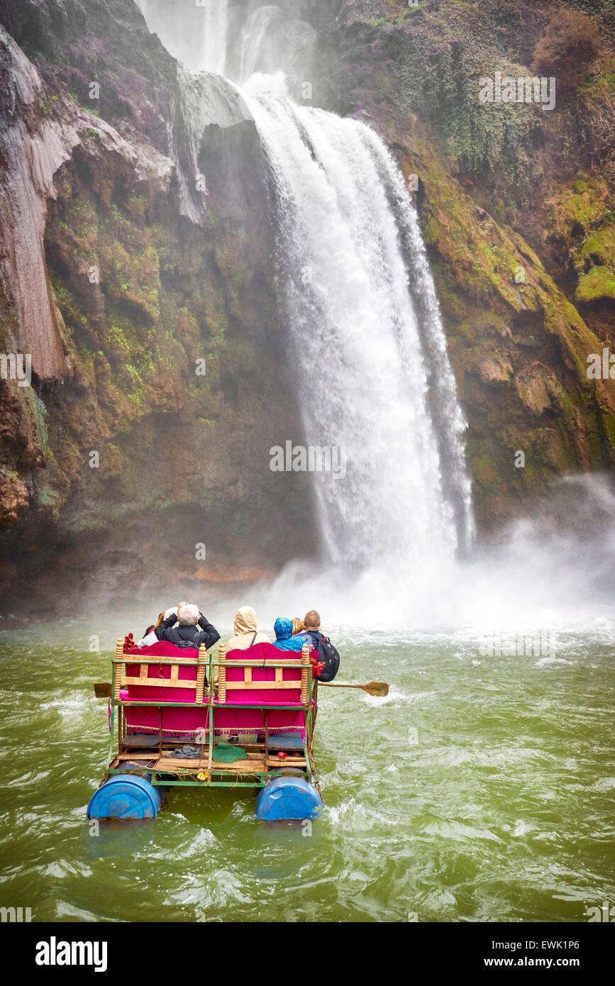 Tourists rafting at Ouzoud Waterfalls, Beni Melal, Morocco, Africa - Stock Image