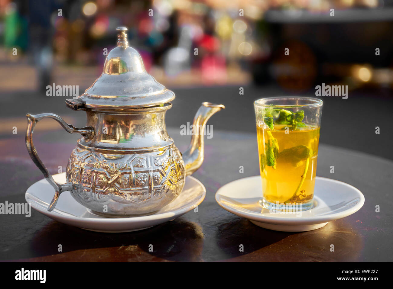 Moroccan tea served in Djemaa el-Fna Square, Marrakesh, Morocco, Africa - Stock Image