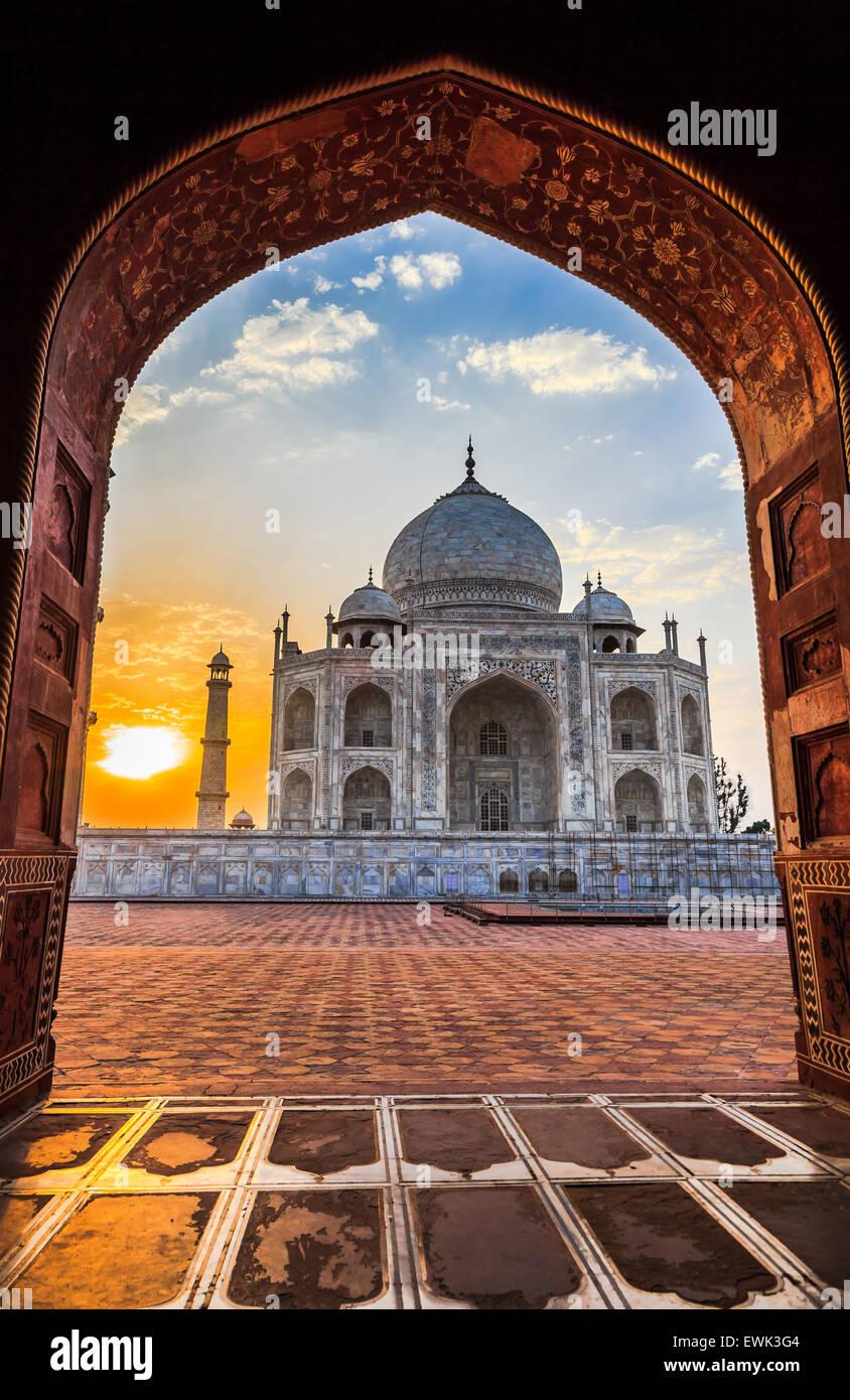 Sunrise at Taj Mahal in Agra, India - Stock Image