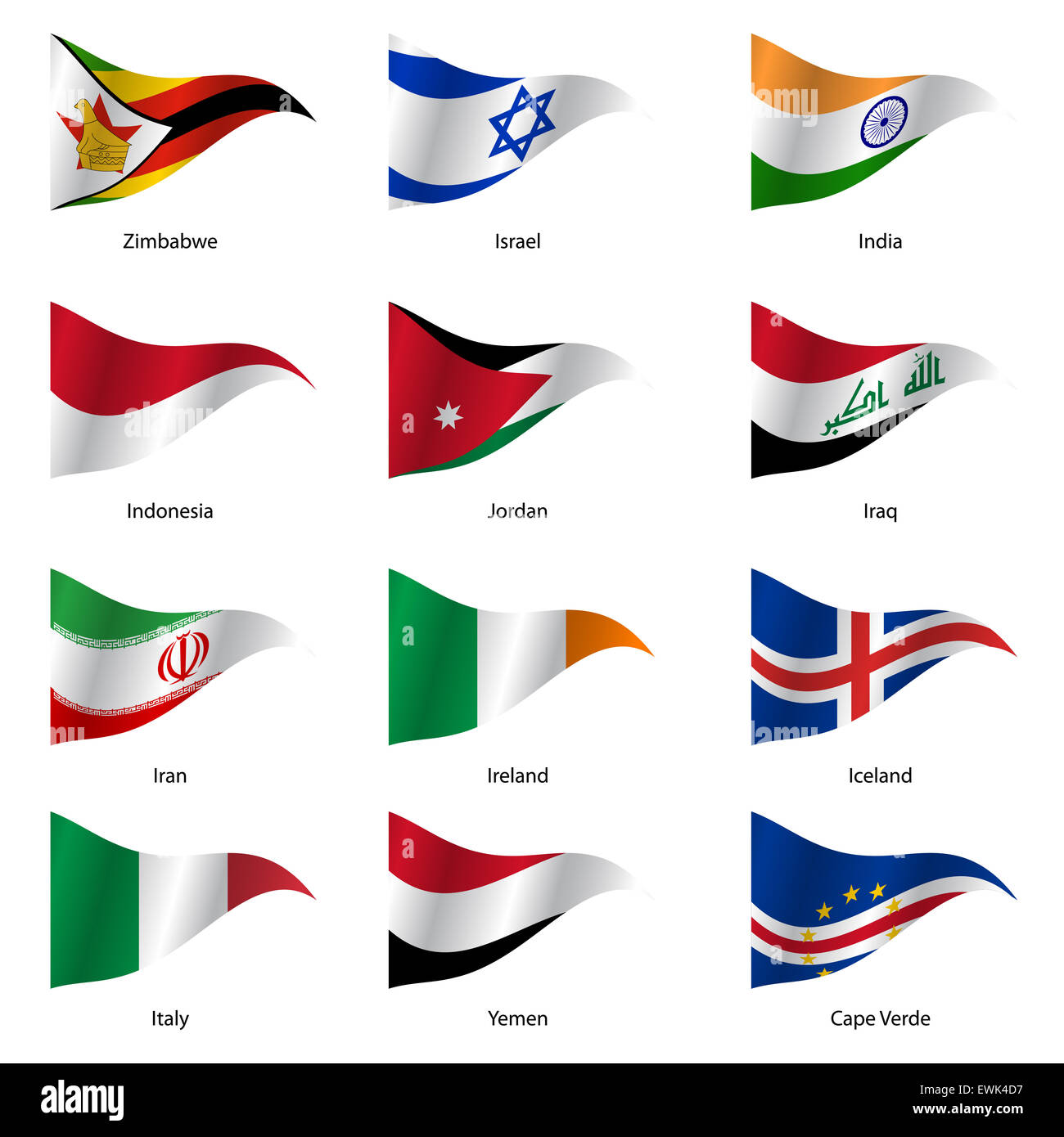 Set  Flags of world sovereign states. - Stock Image