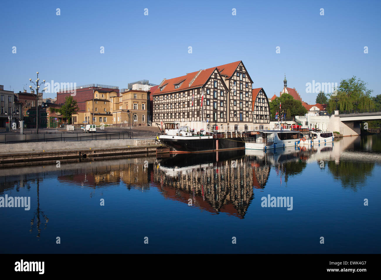 City of Bydgoszcz in Poland and Granaries by the Brda river. Stock Photo