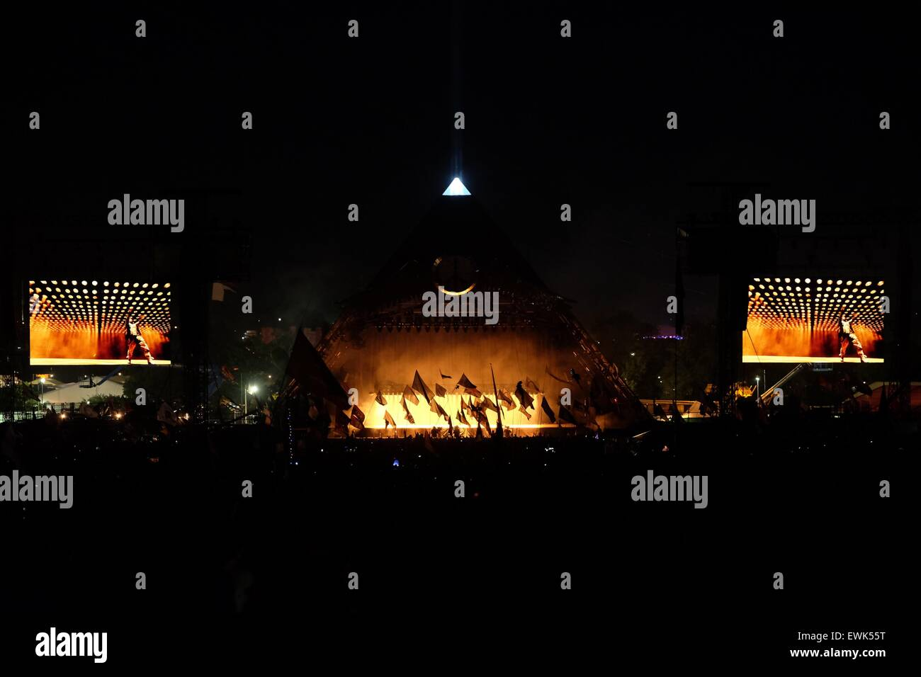 Glastonbury Festival, Somerset, UK. 27 June 2015. Kanye West headlines on the Pyramid Stage at Glastonbury. West's - Stock Image