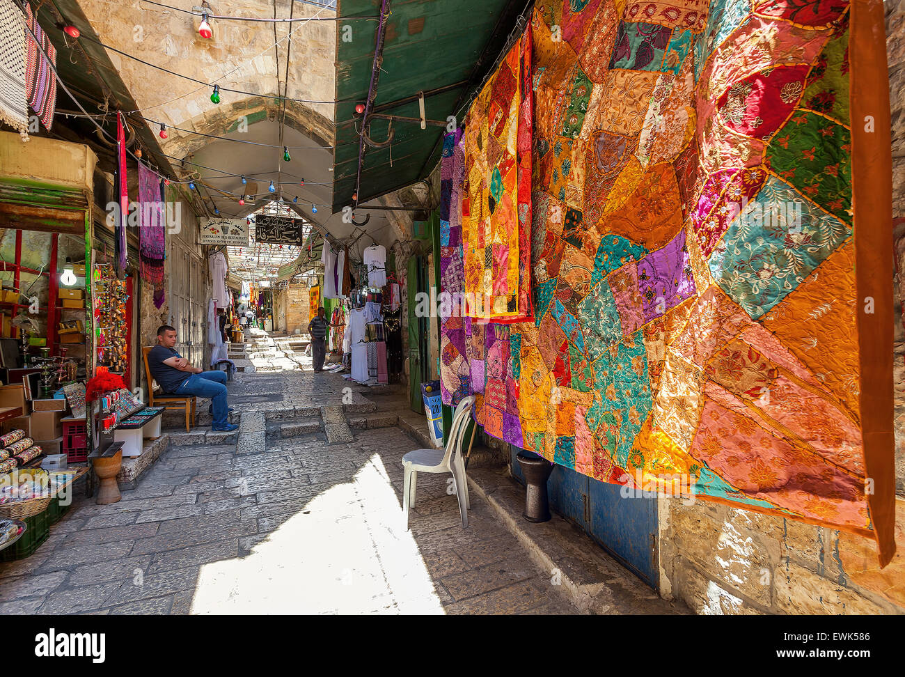Traditional colorful carpets on bazaar in Jerusalem, Israel. - Stock Image