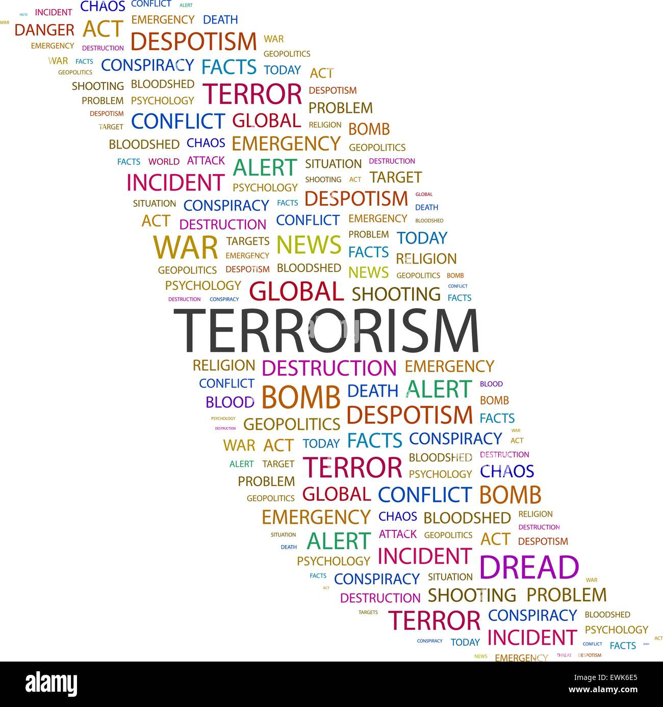 TERRORISM. Word cloud illustration. Tag cloud concept collage. - Stock Vector