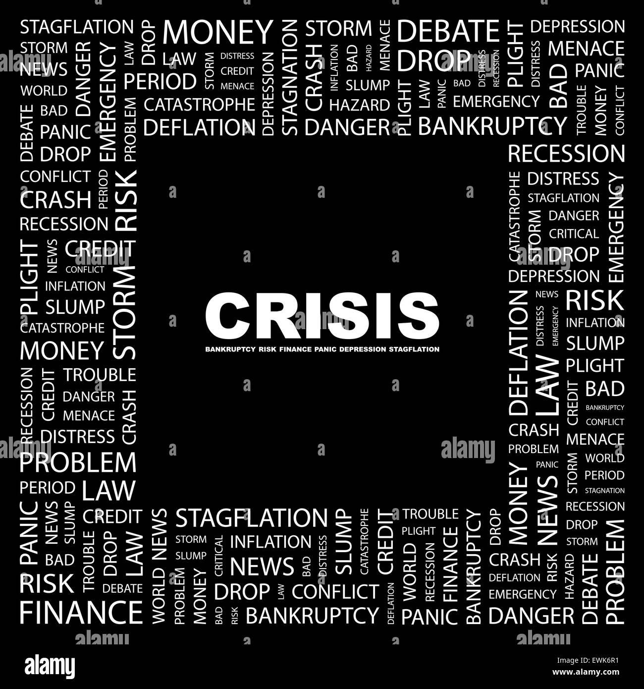 CRISIS. Background concept wordcloud illustration. Print concept word cloud. Graphic collage. - Stock Image