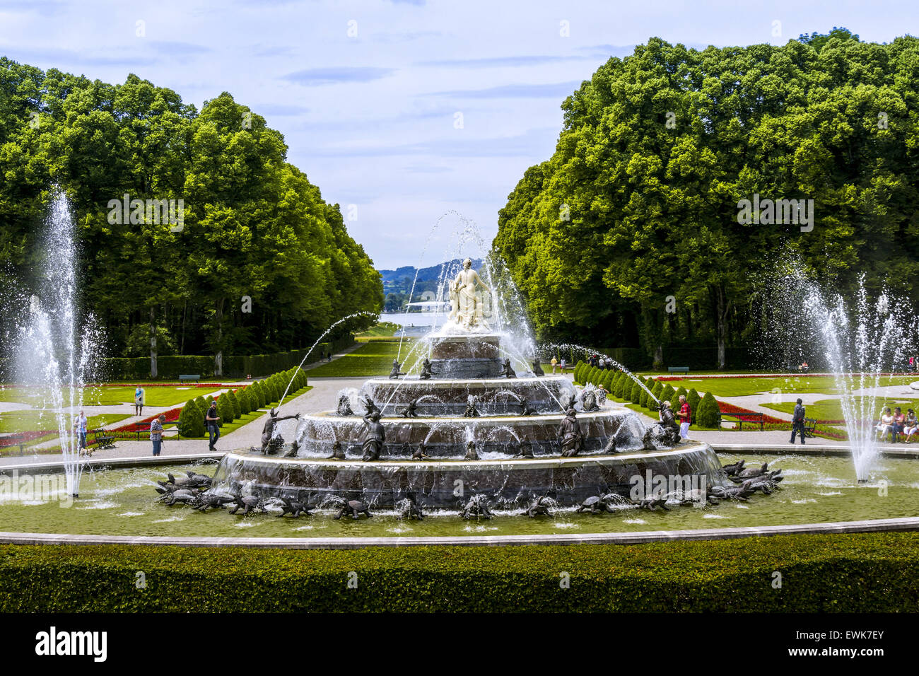 Latona Fountain, Herrenchiemsee Palace, Herreninsel, Gentleman s Island, Lake Chiemsee, Chiemgau, Upper Bavaria, - Stock Image