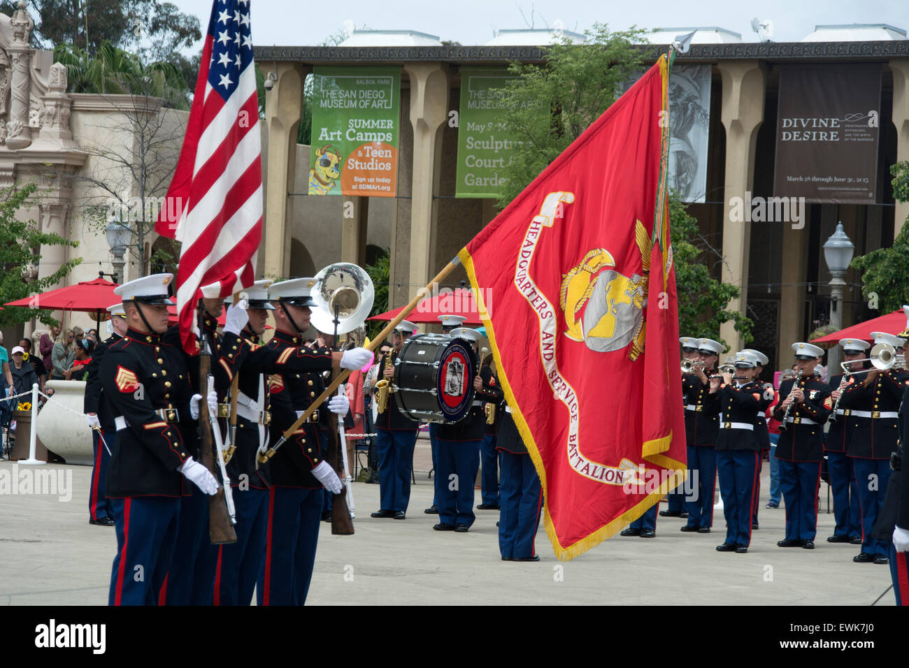 Marines parading through Balboa Park, San Diego, an the 100th anniversary of the parks opening. Stock Photo