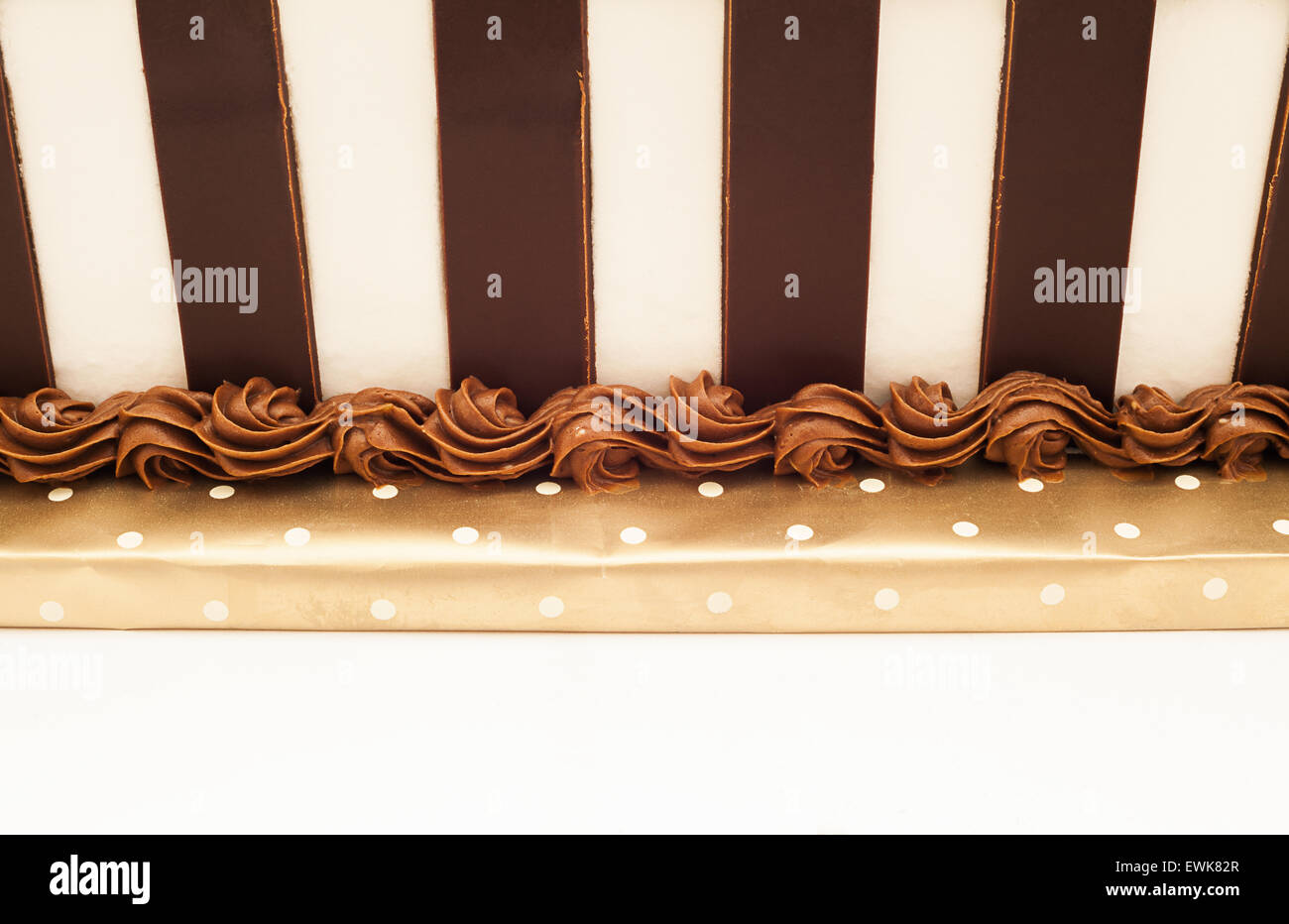 One part of a chocolate cake, cream decoration at bottom of a cake. - Stock Image